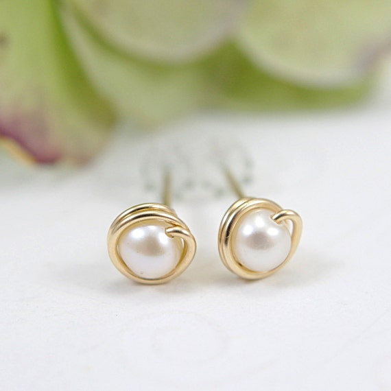 Tiny white pearl post earrings 14k gold filled wire wrapped white pearl stud earrings mini earrings second piercings freshwater pearl 5mm