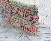 State Names -  Cosmetic Pouch - Road Trip - Red Chevron