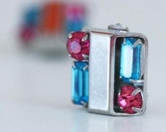 Blue and Pink Rhinestone Earrings - Vintage Costume Jewelry