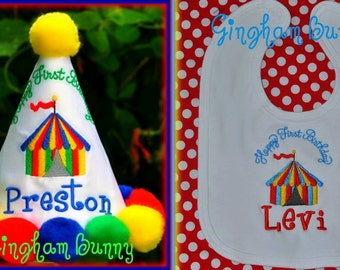 2 Pc. Set, Circus Birthday Hat,and Bib, Carnival Birthday Hat and Bib, You Choose Colors,     by GINGHAM BUNNY EMBROIDERY