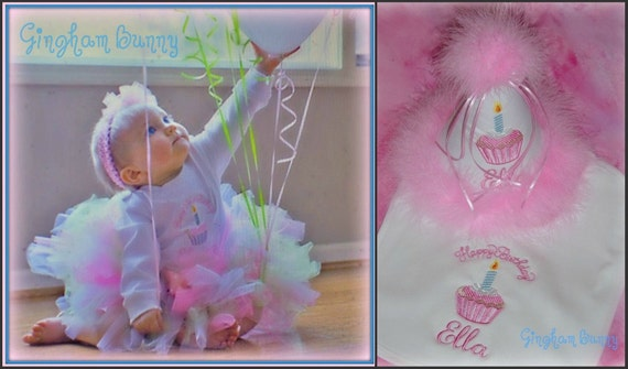 5 Pc. Set,  Hat, Ribbon Bloomer, Onesie, Bib and Tutu,  Cupcake Hat, Long or Short Sleeve, YOU CHOOSE COLORS,by Gingham Bunny