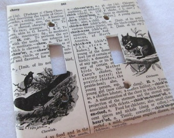 vintage dictionary CHEWINK (bird), CHICKAREE (squirrel)  dual light switch plate