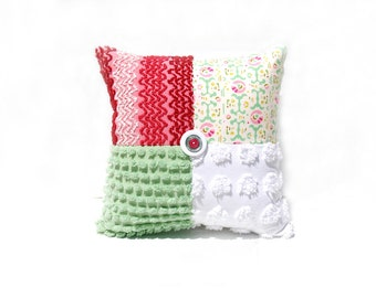 Chenille Pillow - Raspberry Claudette - Green Pink Vintage Chenille Handmade Charm Pillow