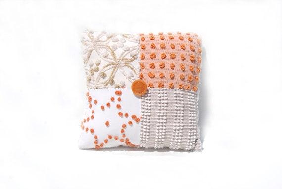 Chenille Pillow - Caramel Tan Orange Pumpkins Fall Autumn Colors -The Beatrice Star- Vintage Chenille Handmade Charm Pillow