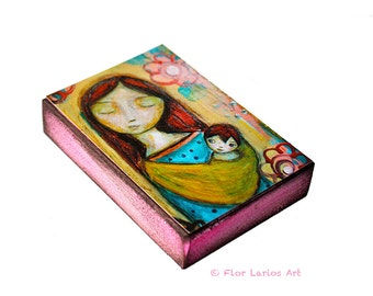 Sleep my Child - Mother Daughter Son Love - ACEO Giclee print mounted on Wood (2.5 x 3.5 inches) Folk Art  by FLOR LARIOS