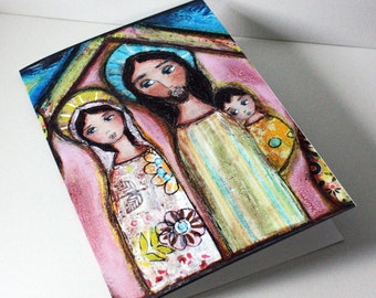 Nativity Night - Greeting Card 5 x 7 inches ( Set of Five) - Folk Art By FLOR LARIOS