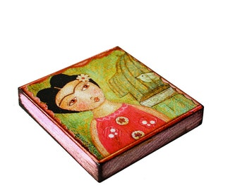 Frida y Pajarito in Pink -   Giclee print mounted on Wood (8 x 8 inches) Folk Art  by FLOR LARIOS