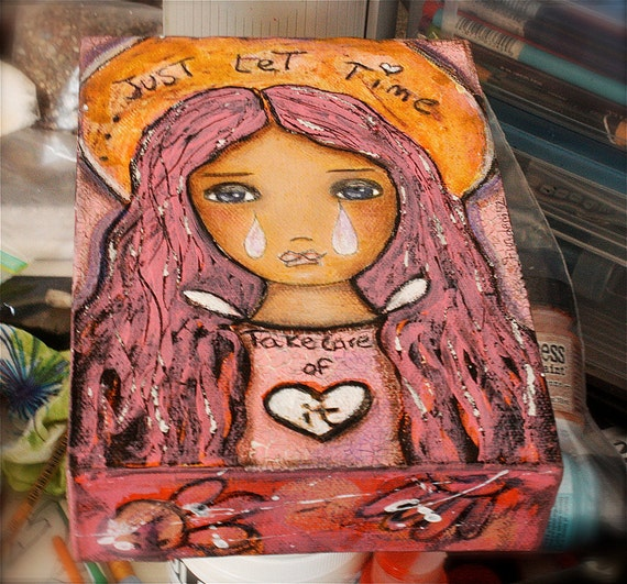Just Let Time Take Care of It-  Original Angel Painting on Canvas Folk art by FLOR LARIOS (5 x 7 INCHES)