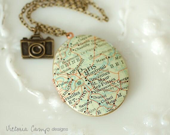 Vintage Paris Map Necklace, Large Oval VIntage Locket, Map Jewelry, France, Camera Charm, Brass Chain, Map Locket, World Traveler