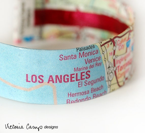 Los Angeles Map Bracelet, California, Map Jewelry, LA, Cuff, Travel, Southern California, Eco Friendly