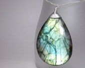 Labradorite necklace - teardrop stone pendant - ''Frost''