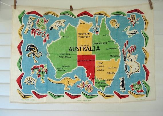 Vintage Australia souvenir tea towel