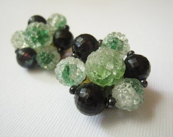 Vintage Jet Black and Frosted Green Clip On Earrings
