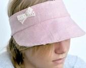 Free Shipping in Australia Pink linen Visor reversible.