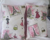 Two Paris Theme Pillows The Back Is Solid Pink 10 x 14 Oh La La Cute Additions to Paris Theme Room