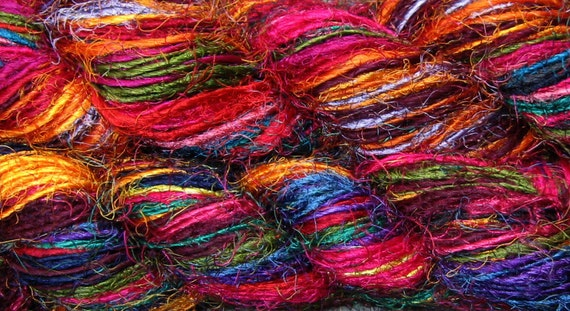200 yds Recycled Cotton Sari Yarn, Fair Trade Handspun, 200 grams, 7 oz