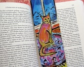 Cat Bookmark, Cat by the Window and Gerbera Flowers, Cat Painting, Gerbera Daisy bouquet, Laminated Bookmark, Cat Painting, Flower Painting