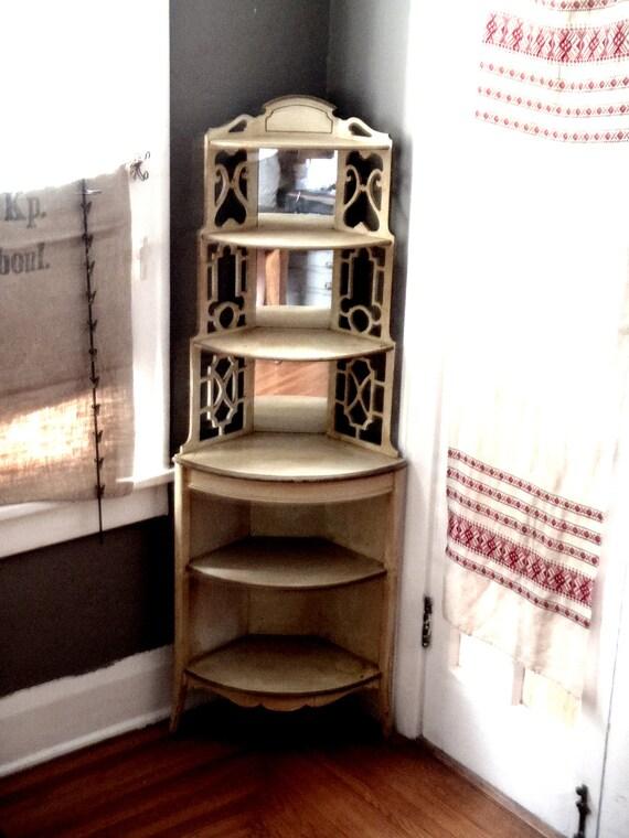 Resreved vintage French Open Six Shelf Curiosity Floor Cabinet