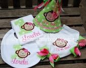 Lime and Pink Mod Monkey First Birthday Hat Bodysuit Bib Bloomers 4 Piece Set