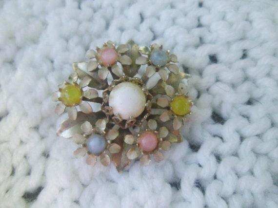 Vintage Flower Brooch Pastel Pearls