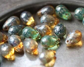 BEACHY DRIPS .. 25 Premium Picasso Czech Glass Drop Beads 6x9mm (2546-st)