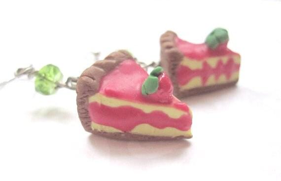 Royal Tart Slice Earrings, Miniature Food Jewelry, Polymer Clay Food Jewelry, Adventurer Time