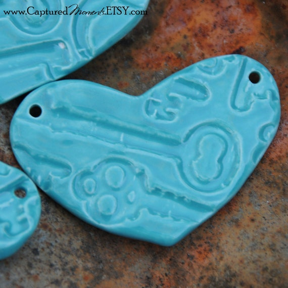 Pottery Heart Pendant or Bead in Aqua Fresca