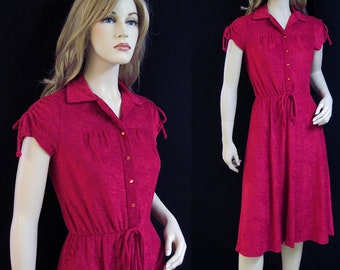 Vintage 70s Dress Cranberry Red Terry Cloth Tie Shoulder Disco  M
