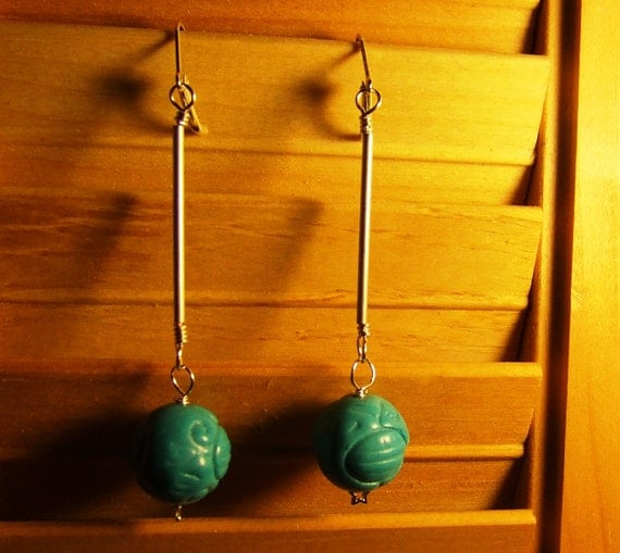 OOAK Hand Made Ab Fab Carved Turquoise and Sterling Silver Tube Pendant Lever Back Earrings With Star Shaped Details in the Silver