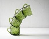 4 Green Glass Cups - Bark Design -  Coffee Tea Mugs