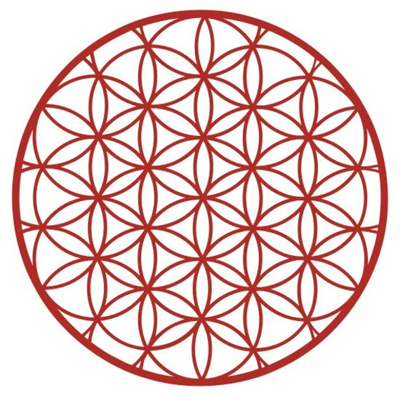 Items Similar To Flower Of Life Sacred Geometry Red Vinyl