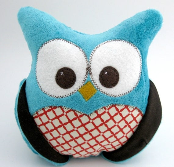 Plush Owl Pillow - Turquoise Minky - red print fabric