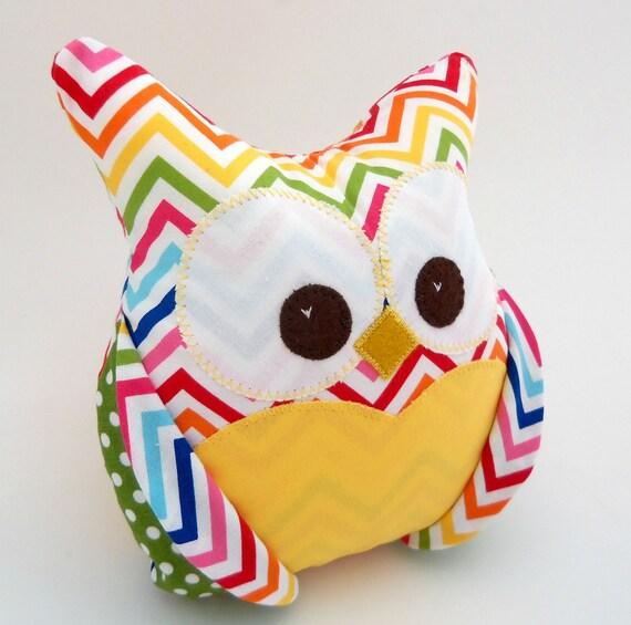 Plush Owl Pillow - Anne Kelle Chevron - green polka dots and bright yellow