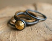 Stack Ring Set, Stackable Rings, Gold Rings, Ring Set, Pod Ring, Multiple Ring Set,  Wearable Art, Keum Boo, Metal Work Jewelry,