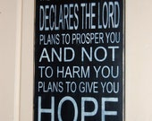 "Jeremiah 29:11 Subway Typography Distressed Wooden Sign 11.25"" x 24"""