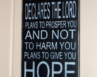 """Jeremiah 29:11 Subway Typography Distressed Wooden Sign 11.25"""" x 24"""""""