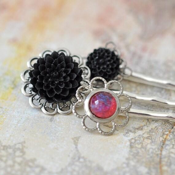 Hair Pin Set, Dragons Breath opal and Black Flowers