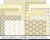 Digital Papers 8.5x11 Gray and Yellow. Instant Download. Digital Scrapbooking. Personal and limited commercial use