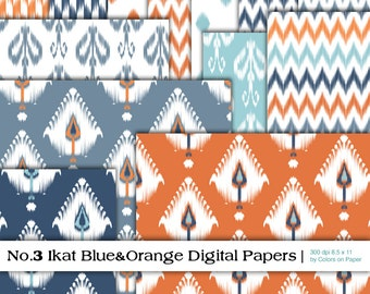 Ikat Digital Paper Pack 3 in Blue and Orange. Instant Download. Digital Collage Sheets. 8.5x11 Printable Papers.