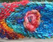 "Peacock Feathers-Recycled Sari Silk Fiber Cuff Bracelet CarlaAlexander 7 3/4"""
