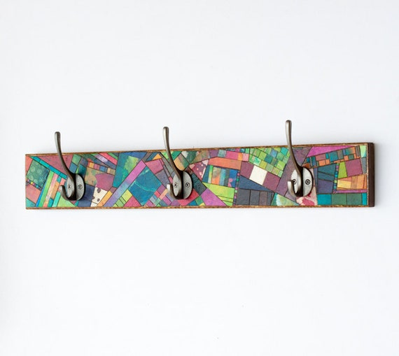 Wall Coat Rack Handmade Colorful Paper Mosaic Quilt Reclaimed Wood