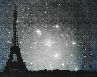 """Starry Night in Paris. Eiffel Tower photo - Visionary Surreal Nature Urban Photography, Contemporary, Modern art 11.5""""x 16.5"""""""