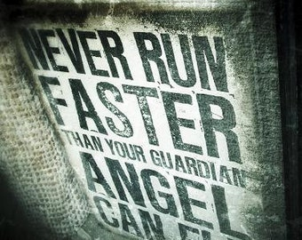 Guardian Angel - quotation text photography - black and white fine art visionary wall art, office or home decor inspirational,vision,fantasy