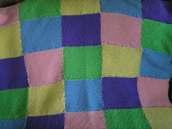 Items similar to Knit Patchwork Blanket for Baby, Toddler ...