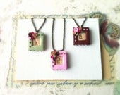 Custom initial necklace - bridesmaid gift set of 3 - romantic wedding - pink, mint and chocolate brown
