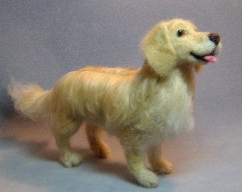 Custom Needle felted Dog sculpture pet memorial from your photographs