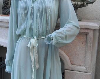 1970s Secretary Dress/ Sheer Feminine Dress in Aqua by Discovery Fashions