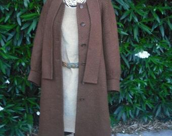 Vintage 80s Brown WOOL Coat by Nora Noh Original Coat  / Medium