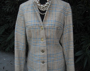 Vintage Jacket, Traditionals by Country Set, Plaid Jacket, Ladies Wool Jacket, Ladies Jacket or Blazer, Sportswear, Academia