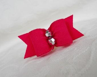 "DOG BOW- 5/8"" Adele in Rose Pink Dog Bow"